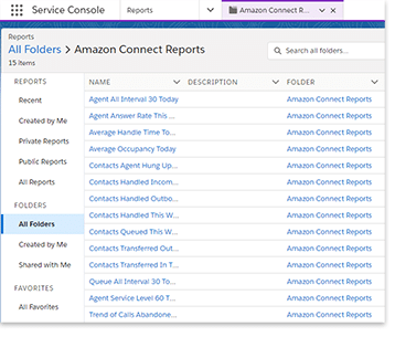 Open the Amazon Connect Reports folder in Salesforce