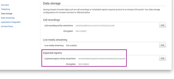 Switch on export functionalities for reports in Amazon Connect