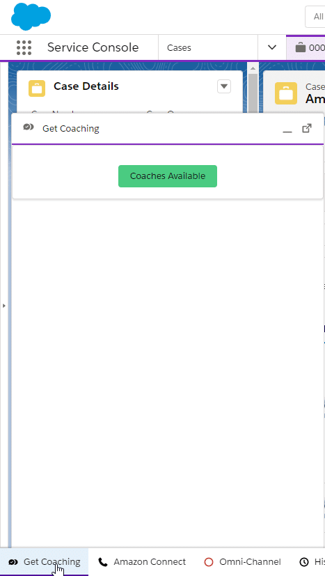 Get Coaching button in Salesforce Service Console